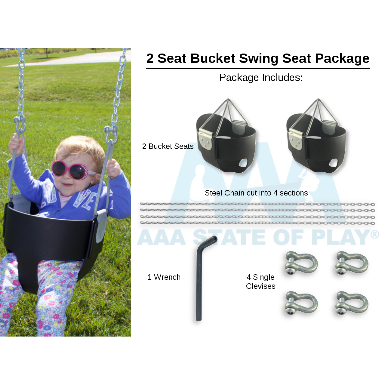 2 Seat Bucket Swing Seat Package Includes Bucket Seats Chain Connectors Tool 2 Top Rail Heights
