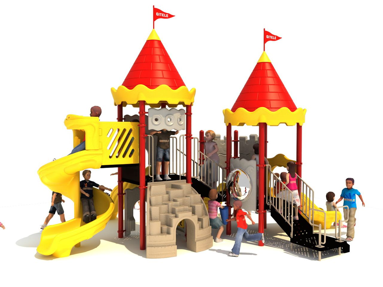 Court of Kids Play Structure by Playground Equipment Dot-com