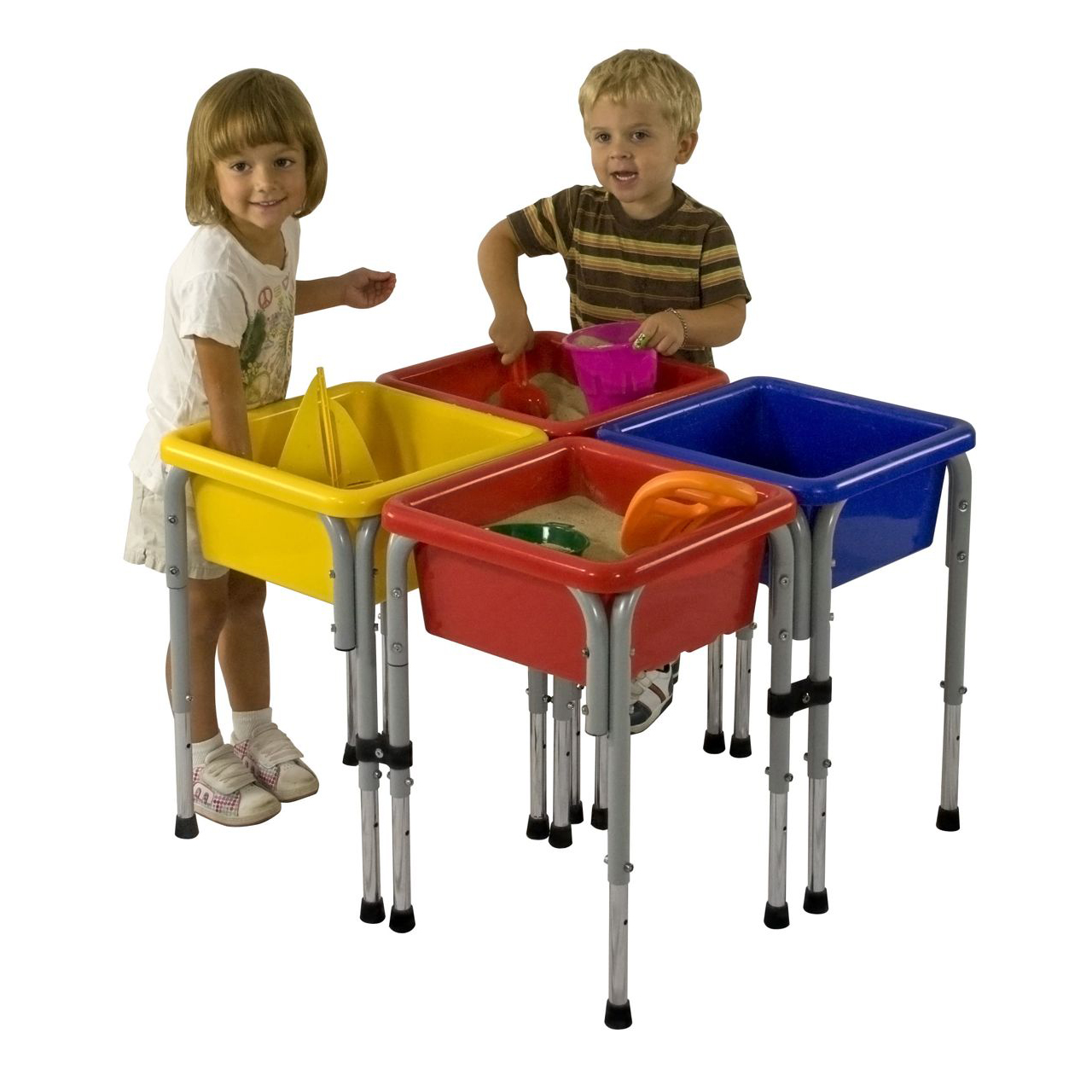 water play table ecr4kids four station square sand amp water table with lids 28933