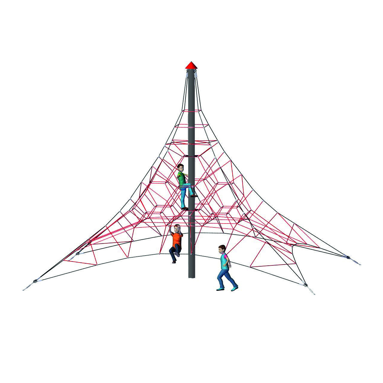 4-Sided Spider Pyramid Net Climber 6-4 (244-inch install height)